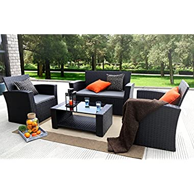 Baner Garden (N87) 4 Pieces Outdoor Furniture Complete Patio Cushion Wicker P.E Rattan Garden Set, Full, Black