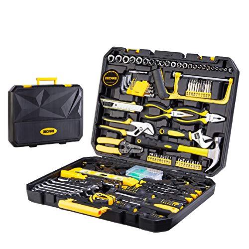DeCare 168 Piece Tool Kit Tool Set  Home Repair Hand Tool Kit Auto Repair Tool Set with Portable Toolbox 168Piece