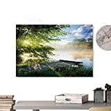 Tankcsard Home Wall Decorations Art Decor Landscape,Fishing Pier by River in The Morning with Clouds and Trees Nature Image,Green Blue White 20'x16' Home Decorations Modern Stretched and Artwork