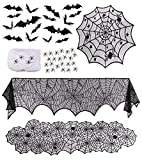 Halloween Decorations 6 Props Table Decor, Spider Web Tablecloth, Cobweb Mantel Scarf and Table Runner, 3D bats Stickers, Stretchy Cobwebs Pack with Spiders, Home Decor for Party Office Sago Brothers