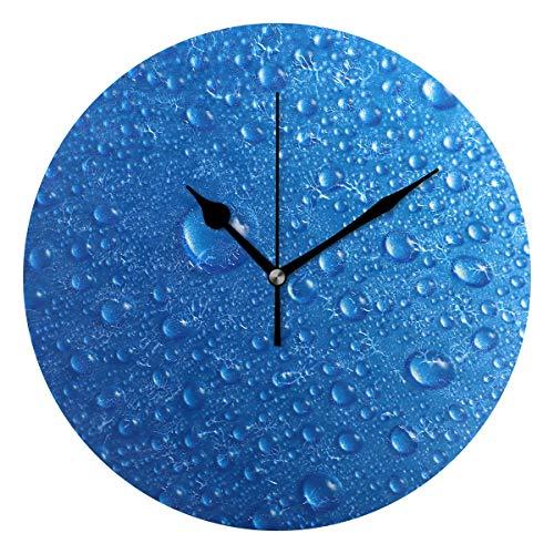 MONTOJ Reloj de pared con gotas de agua, funciona con pilas, tamaño grande, para colgar