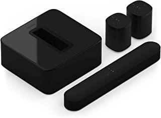 Sonos 5.1 Surround Set - Home Theater System with All-New Beam (1 Item) Bundle with Sub (1 Item), Pair of ONE (2 Items) - Black