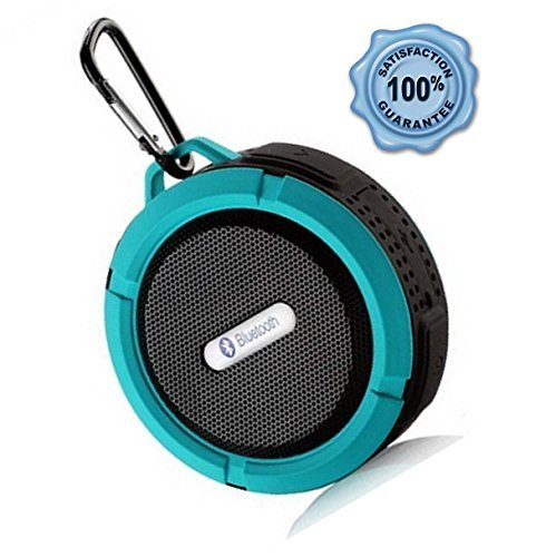 Wireless Speaker with Microphone and Speakerphone; Waterproof Portable Speaker with Suction Cup, Snap Hook and TF Card Slot; Best Bluetooth Speaker for Music and Podcasts in Shower or Outdoors (Blue)