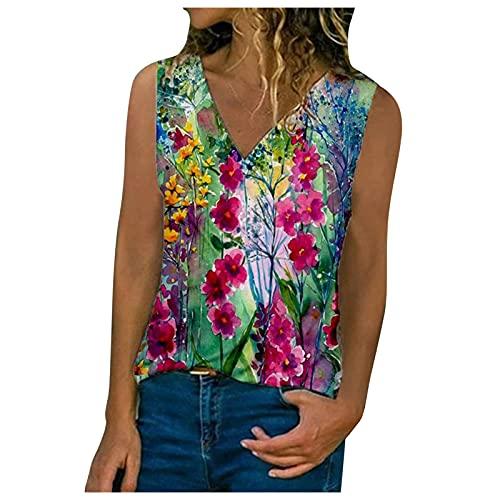 BUDAA Camiseta sexy de verano con cuello en V y cuello en V, para mujer