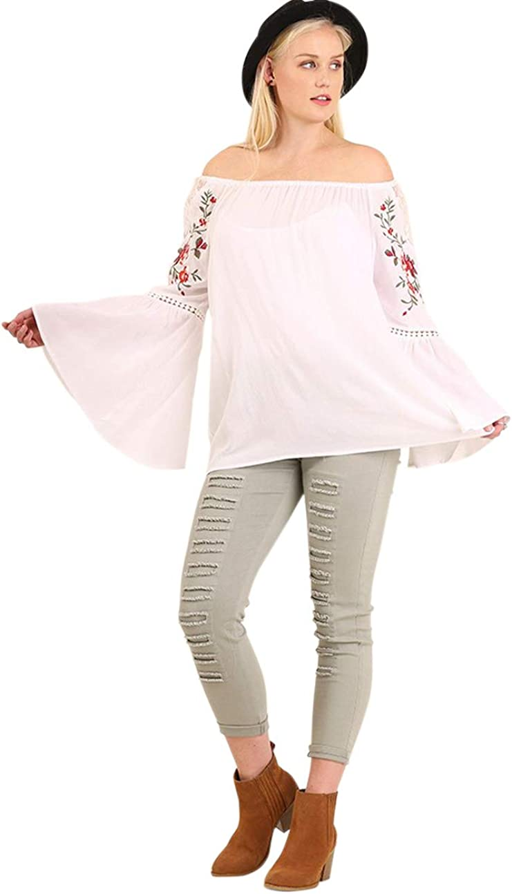 Umgee Women's Off the Shoulder Embroidered Bell Sleeve Tunic Top Plus Size