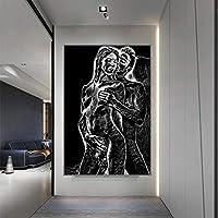 セクシーな男性と女性の裸の体のポスターとプリント抽象メイクラブキャンバス絵画壁アート画像ホテルの寝室の装飾50x70cmフレームレス