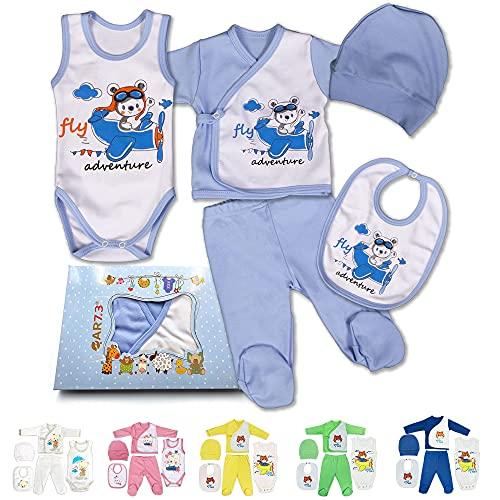 QAR7.3 Completo Vestiti Neonato 0-3 mesi - Set Regalo, Corredino da 5 pezzi: Body, Pigiama, Bavaglino e Cuffietta (Blu, taglia 56)