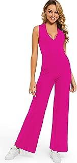 Carprinass Women's Criss Cross Bandage Plunge Elegant V Neck Jumpsuits Overall