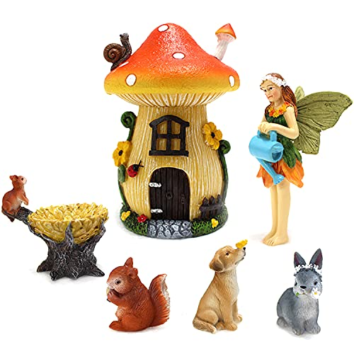 MIBUNG 6Pcs Fairy Garden Accessories - Fairy Mushroom House Kit Fairy Cottage with Fairies Animals Figurines Set for Home Outdoor Bonsai Decor Gardening Graduation Gift
