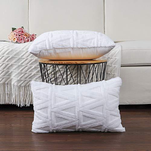Madizz 2er Set Sanft Plüsch Kurze Wolle Samt Dekorativ Zierkissenbezüge Stil Kissenbezug für Sofa für Schlafzimmer Weiß 40x80 cm Rechteckig