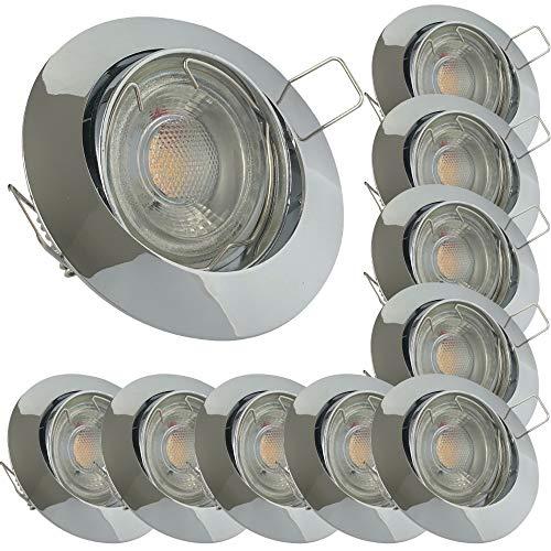 LED Decken Einbaustrahler 230V inkl. 10 x 7W LED LM Dimmbar Farbe Chrom IP20 Einbauleuchten Linus 3000K Warmweiß