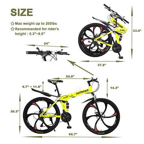 Max4out Mountain Bike Folding Bikes with High Carbon Steel Frame, Featuring 6 Spoke Wheels and 21 Speed Shimano Shifter, Double Disc Brake and Dual Suspension Anti-Slip Bicycles (Green 26 in)