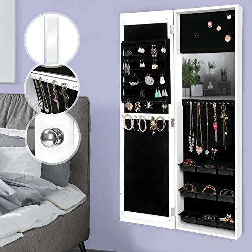 MIADOMODO Schmuckschrank mit Spiegel - 120 x 36 x 9,5 cm, hängend, Weiß - Schmuckregal, Schmuckkasten, Schmuckaufbewahrung, Schmuckorganizer, Spiegelschrank