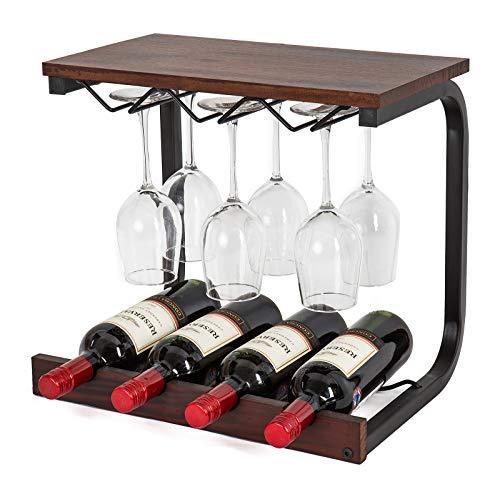 SODUKU Wine Rack Wall Mounted Handmade Metal & Wood Wine Countertop Rack Wine Storage Shelf with 4 Bottle Cages & 6 Long Stem Glass Holder Walnut