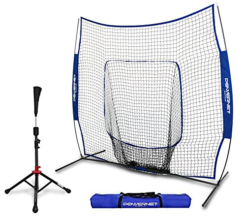 PowerNet Baseball Softball Practice Net 7x7 with Deluxe Tee (Royal Blue) | Practice Hitting, Pitching, Batting, Fielding | Portable, Backstop, Training Aid,Bow Frame | Training Equipment Bundle
