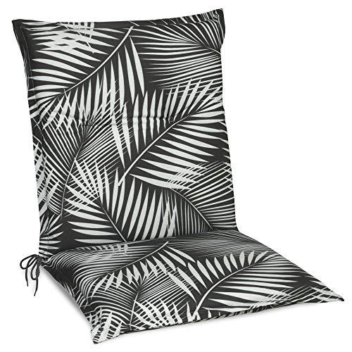 Beautissu Cojín para sillas de Exterior y jardín con Respaldo bajo Tropic 100x50x6 cm tumbonas, mecedoras, Asientos cómodo Acolchado gomaespuma Resistente a Rayos UV