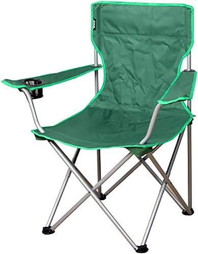 ANFAY Chaise de Camping Pliable, siège en éponge Confortable, Porte-gobelets, Structure Lourde, Charge maximale de 110 kg,vert