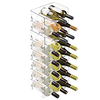 mDesign Modern Plastic Stackable Vertical Standing Wine Bottle Holder Stand - Storage Organizer for Kitchen Countertops, Pantry, Fridge - Each Rack Holds 3 Containers, 8 Pack - Clear by MetroDecor