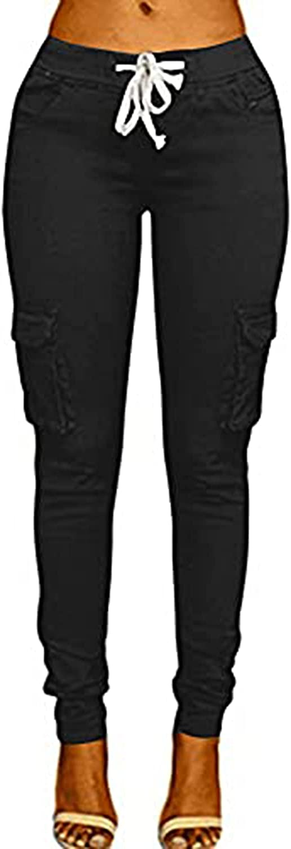 Women's Solid Color Drawstring Skinny Pants Multi Pocket Stretch Cargo Pant Ladies Slim Elastic Waist Casual Trousers (Small,Black)