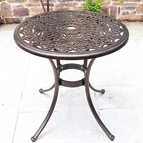 YSGLIFE 1pcs Phoenix Round Table Needs Assembly, Cast Aluminium Round Table and Chairs Outdoor Garden Patio Furniture Bistro Set(One Table,No Chairs)