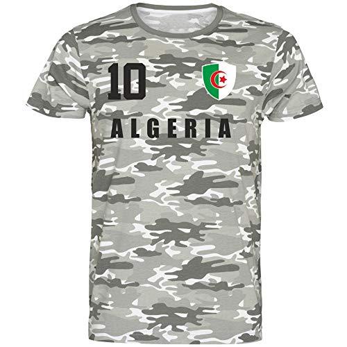 Nation Algerien T-Shirt Camouflage Trikot Style Nummer 10 Army (M)
