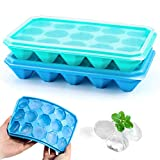 LEEFE Ice Cube Trays with Lids, 2 Pack Silicone Diamond Ice Cube Molds, Ideal for Whiskey, Cocktail and Scotch