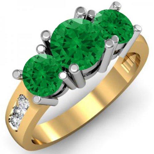 Anillo de compromiso de oro de 14 quilates con esmeralda verde y diamante blanco de 3 piedras