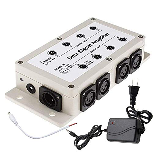 Buy RioRand DMX512 LED Signal Splitter Amplifier Distributor 1 Way in 8-Channel 3-Pin Output with Si...