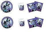 Party Store Web by Casa Dolce Casa Vampirina - Juego de vajilla para fiesta - Kit n° 12 CDC (16 platos, 23 cm, 16 vasos, 20 servilletas)