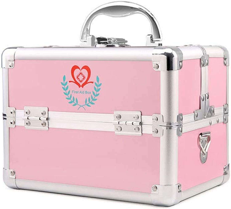 YBJPshop 応急処置キット コンパートメントおよび携帯用ハンドルが付いている救急箱、丸薬箱旅行救急箱の貯蔵のオルガナイザー 携帯用救急箱、旅行、家庭用品 (Color : ピンク, Size : M)