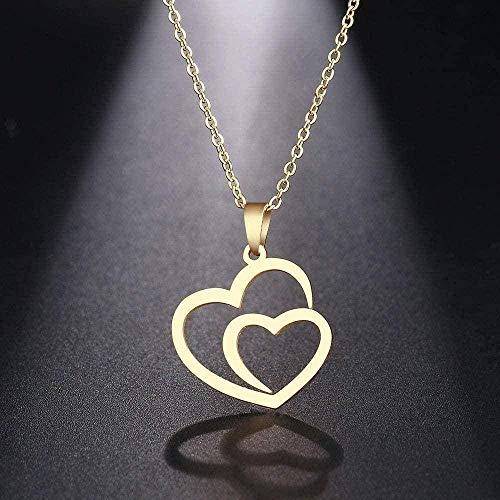 niuziyanfa Co.,ltd Collar de Acero Inoxidable para Mujer, Hombre, Doble corazón Hueco, Gargantilla de Oro Rosa, Colgante, Collar, joyería de Compromiso