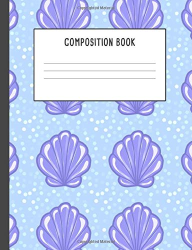 Composition Book: Seashell Purple Blue, 200 pages College ruled (7.44 x 9.69)