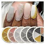 Multa 6box Aleación de clavos de clavo Beads 0.8-3mm Tamaño mezclado 3D Diseño de metal 3D Decoraciones de uñas de plata de oro MANICURA DE ACERO DE CAVIAR DE ACERO para decoración de uñas