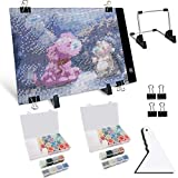 Perzodo 12PCS A4 LED Light Pad with USB Powered - Three-Level Brightness Adjustment Diamond Painting Light Box for Artists Sketching & Drawing Diamond Painting, Include 28 Slot Storage Containers.