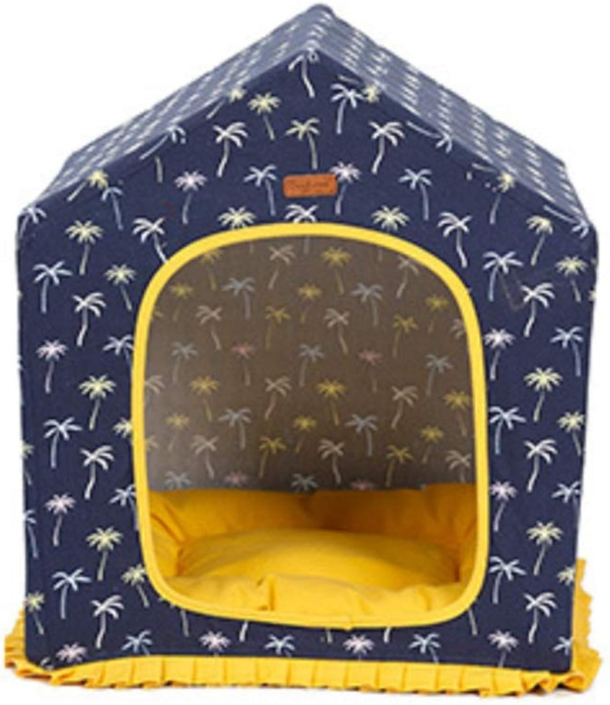 DIY Handmade Pet HouseSoft Pet Bed, Removable Washable,Mini Medium Sized Dog Cat Bed Self Warming Autumn Winter(bluee)