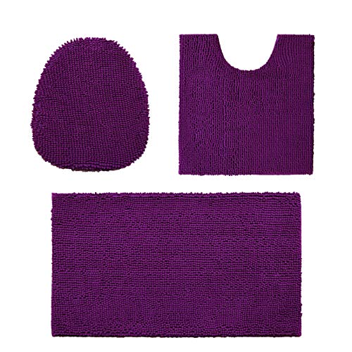 Madeals 3 Piece Bathroom Rug Set with Toilet Lid Cover and Rug Set Combo, Soft Shaggy Bath Rug Set 3 Piece and U-Shaped Toilet Floor Rug Purple