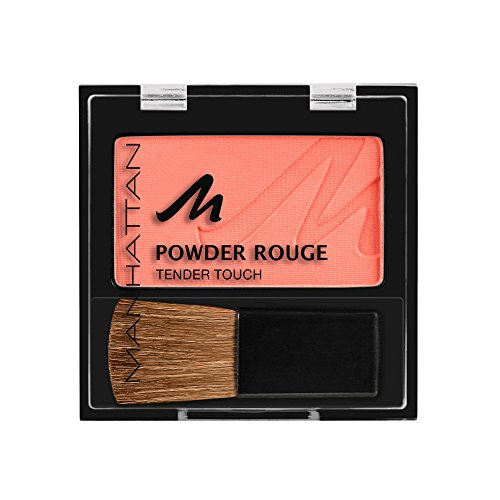 Manhattan Powder Rouge, Apricot Blush mit Puder Textur und beiliegendem Pinsel, Farbe Fresh Peach...