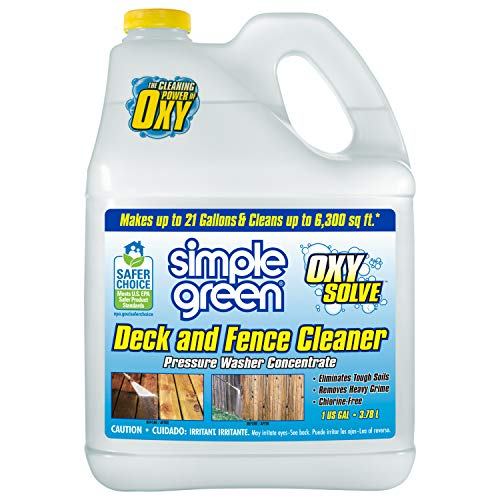 Simple Green Oxy Solve Deck and Fence Pressure Washer Cleaner, Colorless to Pale Straw, Unscented, 127.8 Fl Oz