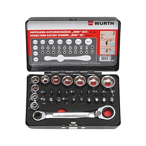 Wurth 096511310 Doppelring-Ratschenschlüssel mit Bits, Mini-Set, 31-teilig