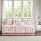 Intelligent Design Raina Metallic Printed Reversible Ultra Soft Microfiber 6 Piece Quilt Coverlet Bedspread Bedding Set, Daybed Size, Blush
