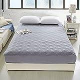 BOLO Sábana bajera ajustable de lujo de satén de algodón suave, sábana bajera elástica en colchón de cama doble (gris,150 x 200 cm)