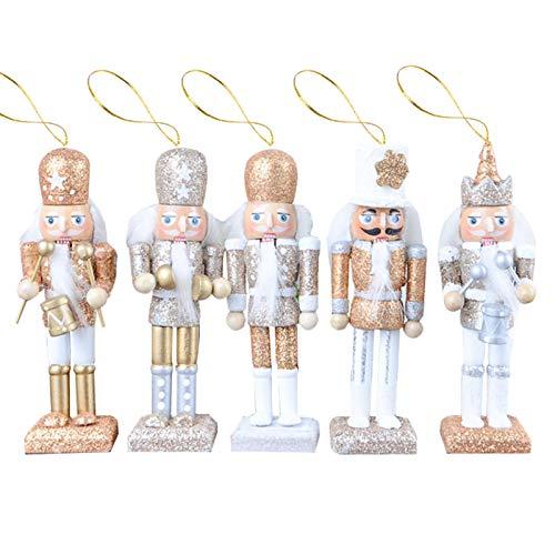 Elibeauty Weihnachts-Nussknacker-Ornamente-Set, Holz-Nussknacker-Dekorationen, Nussknacker-Figuren, Soldaten-Puppen-Spielzeug für Weihnachtsbaum-Dekoration, 11,9 cm, 5 Stück