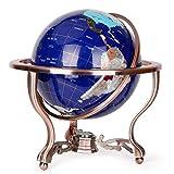 33Cm Large Jewel Desktop Desktop Globe, High Table Blue Lapis Lazuli Marine Gem World Globe Metal Tripod Bracket Office Study Decoration Crafts,b
