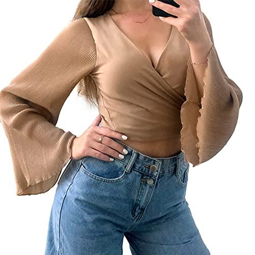 Blusa sexy con lazo frontal para mujer, cuello en V, manga acampanada, parte superior de gasa sólida con ribete de lechuga, caqui, S