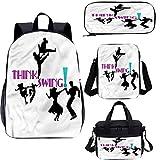 1950s 17 pulgadas mochila escolar y bolsa de almuerzo, bailarines Oldies Silhouettes 4 en 1 conjuntos de mochila