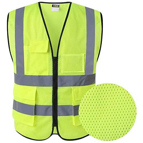 Hohe Sichtbarkeit Warnweste Mesh Atmungsaktive Reflektierende Weste - Multi-Tasche Warnschutzweste für Auto KFZ Fahrrad XXL GRÖSSE