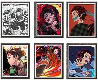 Kimetsu no Yaiba Brothers Love of Fire Slayer Tanjiro Unique Design Anime Art Print Poster 8 x 10 Inches,Set of 6,No Frame