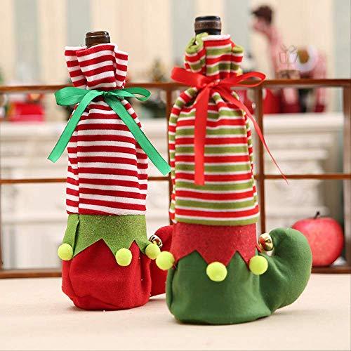 LUCKYYY Kerstmis decoratieve fles fles wijnfles decoratieve elf gift bag 15 x 32cm