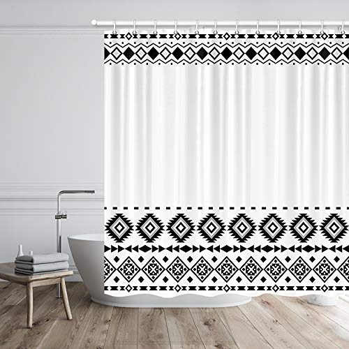 """MERCHR Aztec Tribal Cloth Shower Curtain, Black and White Boho Chic Geometric Pattern Fabric Shower Curtains Set with Hooks for Bathroom Decor, Waterproof Durable Polyester Bath Curtain (69""""X70"""")"""