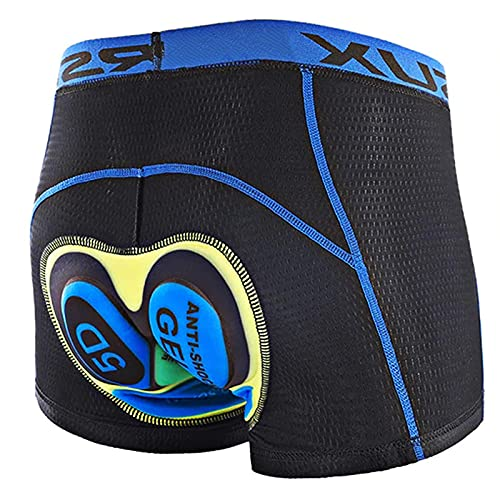 Ropa Interior de Ciclismo para Hombre Shorts 3D Acolchado de Gel Ligero y Transpirable Shorts de Bicicleta Secado Rápido Suave MTB Boxers Calzoncillos Elásticos Sin Costuras,Yellow + blue cushion,XXL